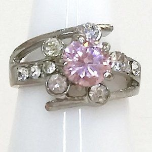 4/$20 Pink Rhinestone Bypass Cocktail Ring 10